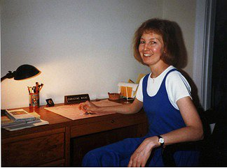 Christine at desk